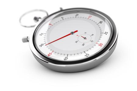 cronografo: Cronógrafo con agujas de color rojo sobre fondo blanco, efecto de desenfoque. Concepto de medición o la puntualidad