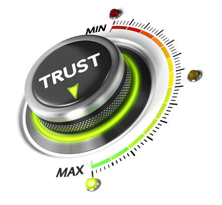 confidence: Trust button set on highest position. Concept image for illustration of high confidence level, trusted service or review.