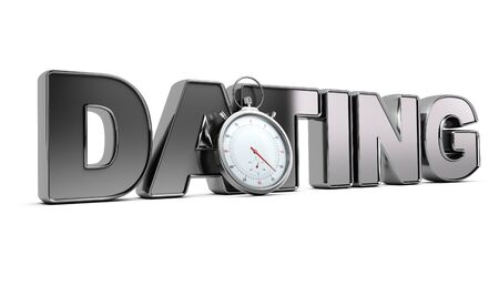 cronógrafo: Palabra de citas con el cronómetro sobre el fondo blanco, ilustración 3D de un concepto de la reunión de velocidad.