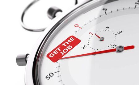 cronografo: agujas cronómetro que señala el texto conseguir el trabajo. objeto conceptual sobre fondo blanco para la ilustración de la entrevista velocidad