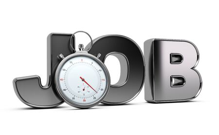 chronograph: Word job with stopwatch over white background, 3D illustration of speed interviewing.