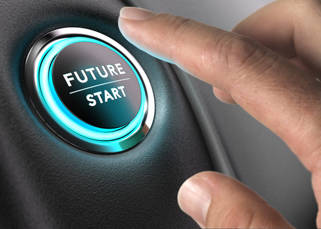 Finger sur le point d'appuyer sur le bouton avenir avec la lumière bleue sur fond noir et gris. Concept image d'illustration de changement ou de vision stratégique. Banque d'images