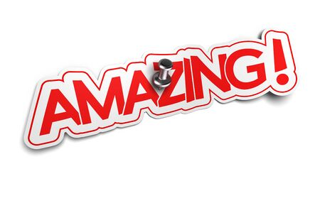 prodigious: Amazing word on sticker, Exclamation Sticker for illustration of surprise or incredible news Stock Photo
