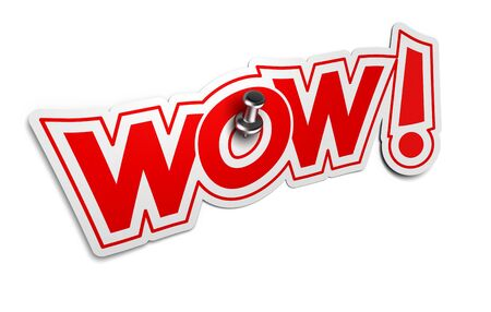 fascinated: WOW Onomatopoeia, Exclamation Sticker for illustration of surprise or incredible news