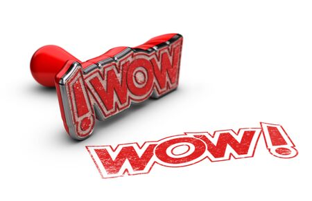 prodigious: WOW rubber stamp over white background, exclamation concept for illustration of surprise or incredible news