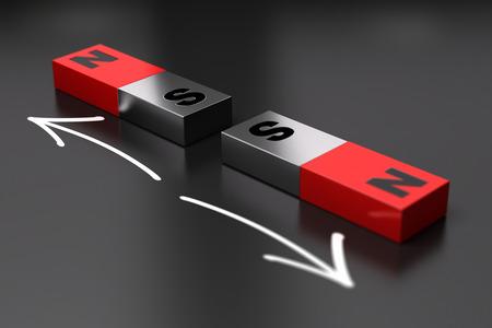 Two dipoles magnets repels eatch other. Black background Foto de archivo