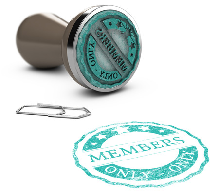 authentification: Rubber stamp image with the text members only printed on a white background. Communication concept for Illustration of membership Stock Photo