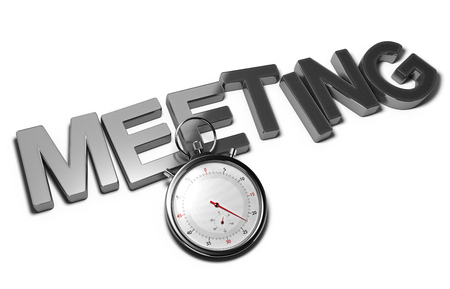 contacting: Word meeting with a stopwatch over white background, 3D illustration of speed interviewing.