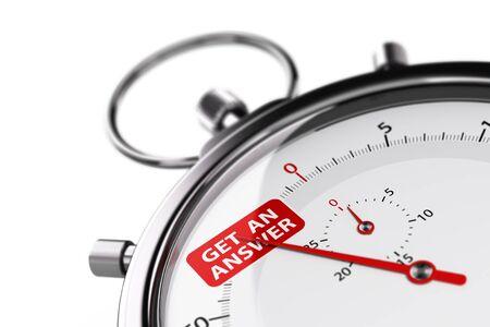 Cronometro su sfondo bianco con il testo ottenere una risposta. immagine 3D per l'illustrazione di un efficace servizio al cliente.