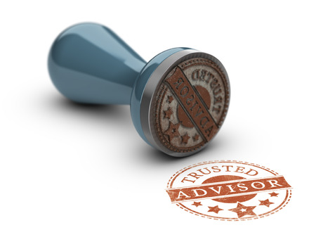 Trusted avisor rubber stamp over white background. Concept of trust in business. 스톡 콘텐츠