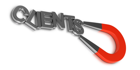 returning: Client retention illustration concept, word clients attracted and retained by a magnet over white background
