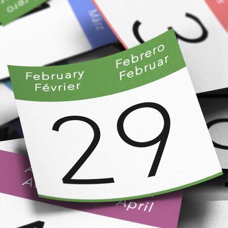 meses del a�o: Calendario donde en febrero 29 de escrito con una chincheta azul, imagen D�a de a�o bisiesto Foto de archivo