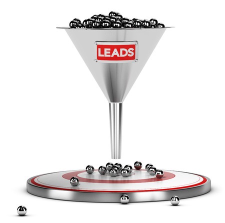 lead: funnel with many metallic spheres and one target over white background. Illustration concept of sales lead nurturing Stock Photo