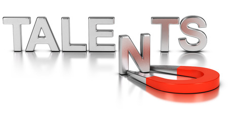 Talent acquisition illustration concept, letter N attracted and retained by a magnet over white background