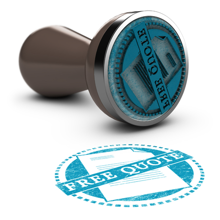 cost estimate: Rubber stamp over white background with the text free quote printed on it.