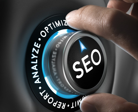 optimizing: Man hand turning a knob in the optimize position. SEO process and planning concept.