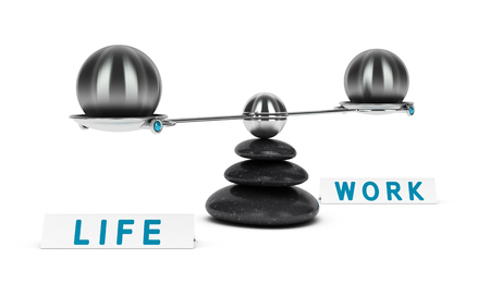 psychologic: Two spheres with same size on a seesaw over white background, work life balance concept or symbol
