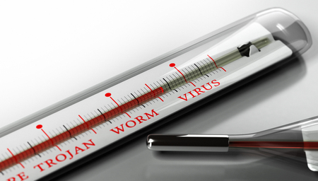computer worm: Thermometer with the text virus, worm and trojan over grey background. Concept image for illustration of infected computer, security and virus alert. Stock Photo