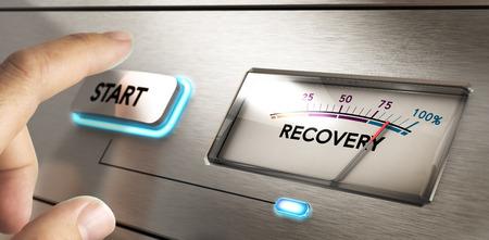 Finger punto de pulsar un botón de inicio con un dial donde se escribe la palabra de recuperación. concepto de imagen para la ilustración de la crisis o la recuperación de desastres plan.