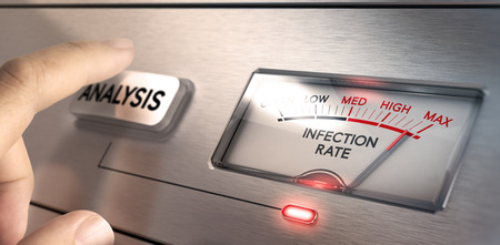 detection: Finger about to press an analysis button with a dial where it is written the text infection rate. Concept image for illustration of computer or system infected by viruses and virus detection. Stock Photo