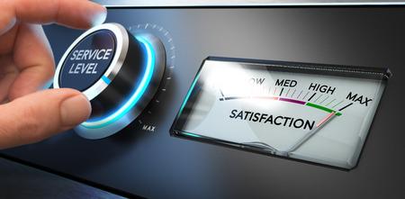ottimo: Mano che gira un livello di servizio manopola fino al valore massimo con un quadrante dove è scritto la soddisfazione di parola. Immagine di concetto per l'illustrazione di Key Performance Indicator, KPI e la fidelizzazione dei clienti.
