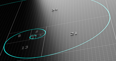 fibonacci number: Fibonacci spiral over 3d black background with grid. Science or mathematics concept illustration.