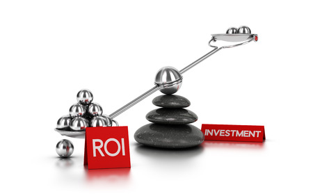 black pebbles: Metal spheres on a seesaw with three black pebbles over white background. Finance concept image for illustration of ROI or investment.