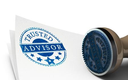Adviseur stempel afgedrukt op een vel papier op een witte achtergrond. Concept van vertrouwen en business consulting. Stockfoto