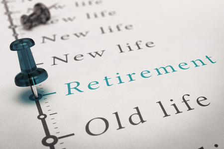 eligible: Retirement written on a timeline printed on a paper with a blue pushpin, concept image for changes after work life. Stock Photo