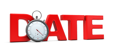 Word date with a stopwatch over white background, 3D concept for speed dating illustration. Stock Photo