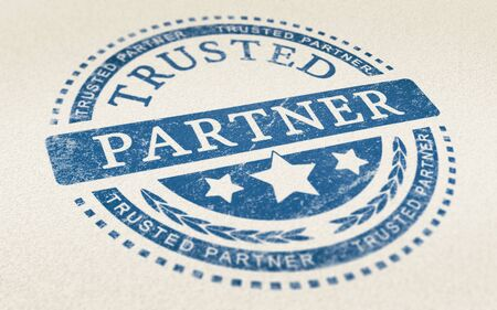 collaborator: Trusted partner mark imprinted on a paper texture. Concept background for illustration of trust in partnership and business services.