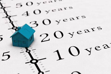 long term: Real estate concept. Conceptual illustration for mortgage time or loan duration.
