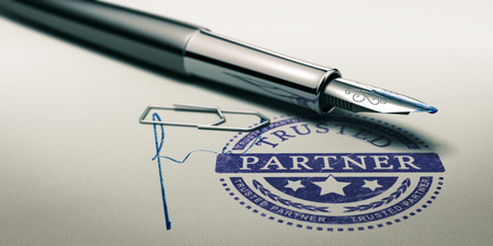 Trusted partner mark imprinted on a paper texture with signature and fountain pen. Concept image for illustration of trust in partnership and business services.