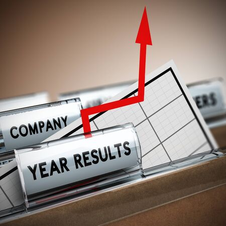 exceed: Files with focus on the tab year results with chart and arrow with an arrow coming out of the sheet. Concept image, 3D illustration of exceptional company results