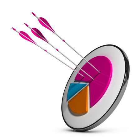 penetration: Target with pie chart and three arrows hitting the most important slice. 3D illustration over white background. Concept of market share gain or successful markets penetration.