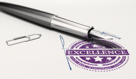 imprinted: Excellence mark imprinted on a paper texture with signature and fountain pen. Concept image of personnal success and excellent business service. 3D illustration. Stock Photo