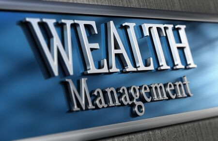 advisory: 3d illustration of a wealth management company Close up of the facade with blur effect, blue and grey tones. Stock Photo