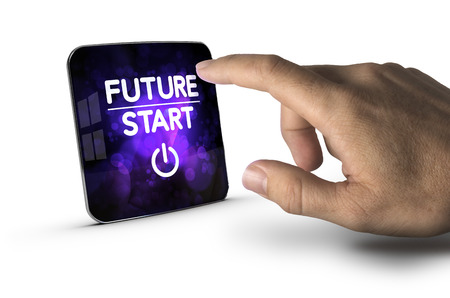 technological evolution: Finger about to press modern screen with the text future start, white background. Concept image for illustration of innovation or strategic vision.