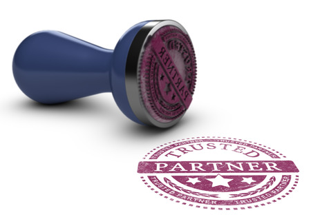 collaborator: Trusted partner mark imprinted on a white background with rubber stamp. Concept background for illustration of trust in business and partnership. Stock Photo
