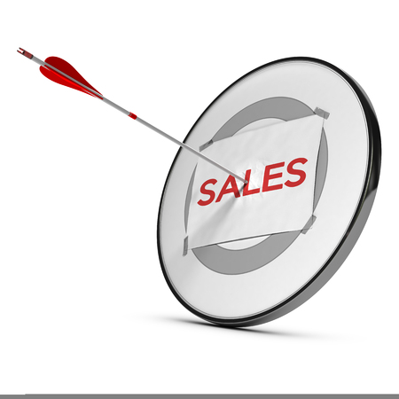 marketing target: Successful marketing strategy concept illustrated by an arrow hitting the center of a target with the word sales printed on a paper sheet, white background.