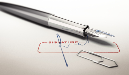 signer: Signature and fountain pen over paper texture. Concept image for illustration of business commitments.