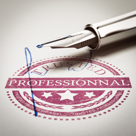 imprinted: Trusted Professionnal rubber stamp mark imprinted on a paper texture with signature and fountain pen. Concept image for illustration of trustworthy business partner. Stock Photo