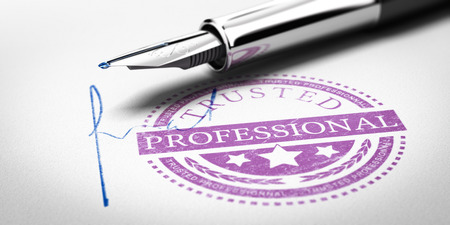 Trusted Professionnal rubber stamp mark imprinted on a paper texture with signature and fountain pen. Concept image for illustration of trustworthy business partner. Foto de archivo