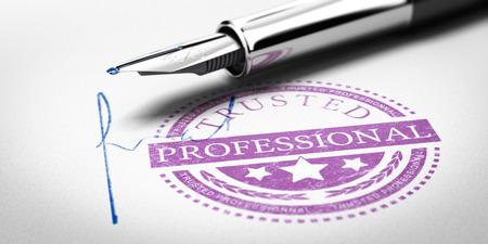 Trusted Professionnal Stempel Markierung auf einer Papierstruktur bedruckt mit Unterschrift und Füllfederhalter. Konzept-Bild zur Veranschaulichung von vertrauenswürdigen Geschäftspartner. Standard-Bild