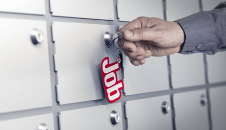 hand job: Man hand about to turn a key with the word job. Many closed doors at the background. Concept image for illustration of career opportunities or recruitment. Stock Photo
