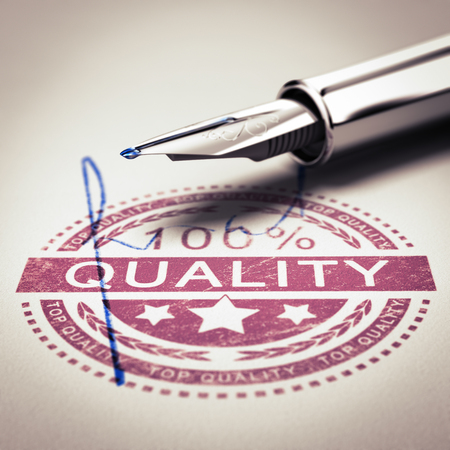 pen quality: 100 percent quality guarantee rubber stamp mark imprinted on a paper texture with signature and fountain pen. Concept image for illustration of a certificate of guatantee or customer satisfaction.