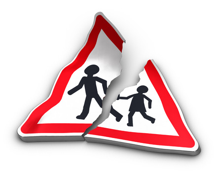 excess: Broken road sign with two characters separated over white background. 3D illustration of road accident and excess speed. Stock Photo