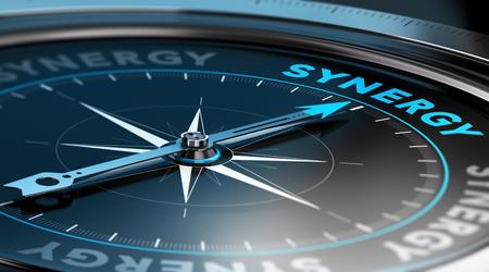 sinergia: Ilustración 3D de una brújula con la aguja apuntando hacia la palabra sinergia. fondo negro