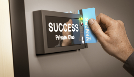 self realization: Hand with blue cardkey unlocking access to success private club. Concept image for illustration of self realization or entrepreneurship.