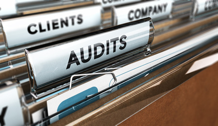 audits: Close up of a folder tab with the word audit, 3D illustration. Business management concept.